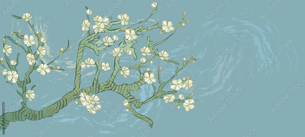 Spring almond branch, flowers. Blooming tree vintage. Boho style. By pictures Vincent Van Gogh almond branch retro.