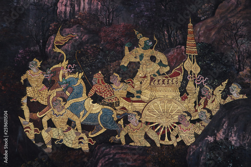Fotomural The Ramakien (Ramayana) mural paintings along the galleries of the Temple of the