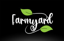Farmyard Word Text With Green Leaf Logo Icon Design