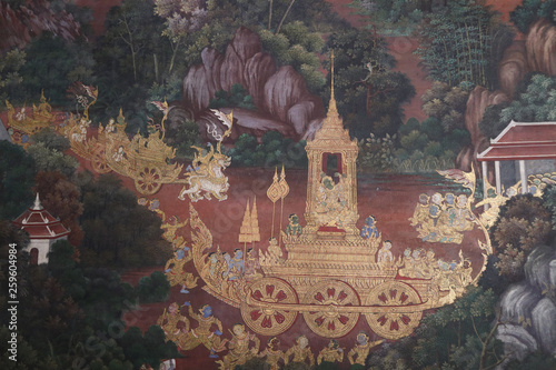 Fototapety, obrazy: The Ramakien (Ramayana) mural paintings along the galleries of the Temple of the Emerald Buddha, grand palace or wat phra kaew Bangkok Thailand