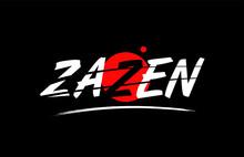 Zazen Word Text Logo Icon With Red Circle Design