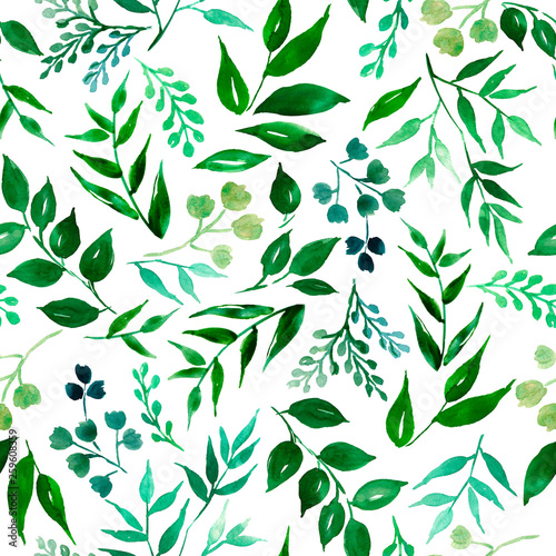 Fototapety, obrazy: Seamless pattern of green leaves, herbs, tropical plant hand drawn watercolor  .Fresh beauty rustic eco friendly background.