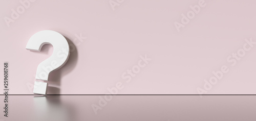 Stickers pour porte Pierre, Sable White question mark on background with empty copy space on left side. 3D Rendering