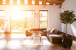 canvas print picture - Modernes geräumiges Wohnzimmer im skandinavischen Design