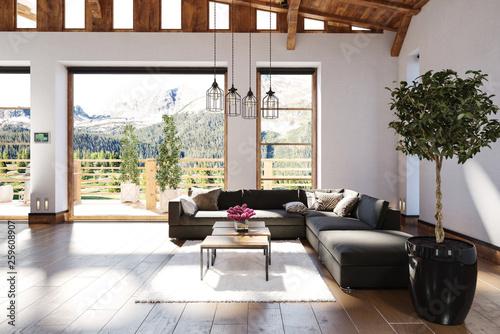 Higge Wohnzimmer Interieur mit Sofa Wallpaper Mural