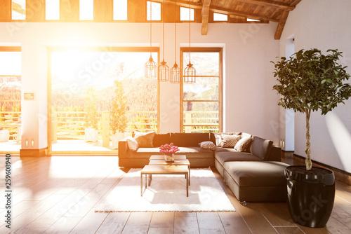 Modernes geräumiges Wohnzimmer im skandinavischen Design Wallpaper Mural