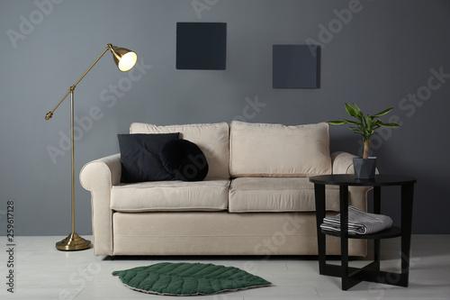Fototapeta Modern living room interior with comfortable sofa obraz na płótnie
