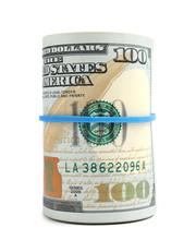 Roll Of Dollar Bills With Rubb...