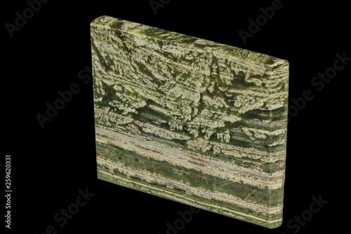 Photo Macro datolite scarn mineral stone on a black background