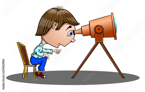 Photo  Funny surprised boy sitting on a chair and looking through a telescope, vector i