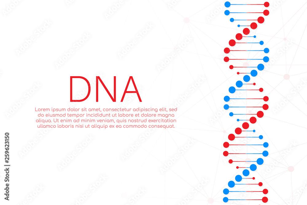 Fototapeta DNA strand symbol. DNA genetics. Vector illustration.