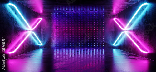 Dark Sci Fi Futuristic Virtual Reality Stage Empty Hall Garage Hall Room Tunnel Glowing Lasers Neon Fluorescent Cross Shaped Lights Matrix Dots Purple Blue Grunge Concrete 3D Rendering - 259623734