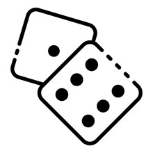 Dice One Six Face Icon. Outline Dice One Six Face Vector Icon For Web Design Isolated On White Background