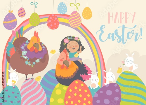 Cute little girl with funny chickens and rabbits. Happy Easter