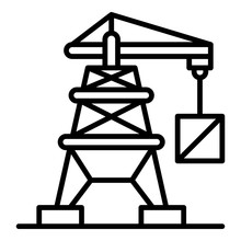 Port Crane Icon. Outline Port Crane Vector Icon For Web Design Isolated On White Background