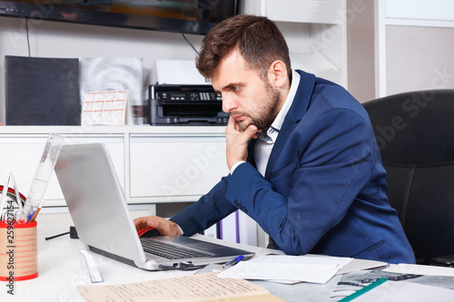 Garden Poster Confident man administrator of furniture store using laptop at workplace in showroom