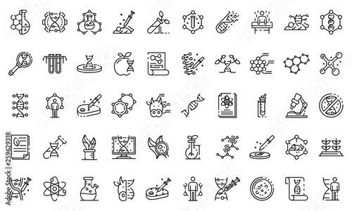 Photo Genetic engineering icons set