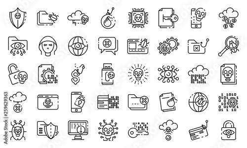 Fotografía Cyber attack icons set