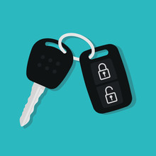 Car Key In Flat Style. Vector