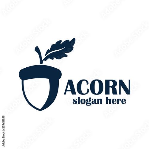 acorn logo design vector Canvas Print