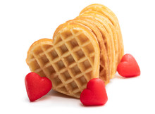 Heart Shaped Waffles Isolated On White