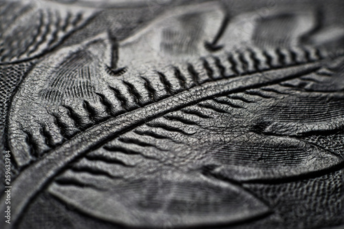 Fototapeta  Embossed shiny black leather with the floral motifs - close up to the detail
