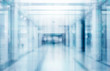 canvas print picture - abstract defocused blurred technology space background, empty business corridor or shopping mall. Medical and hospital corridor defocused background with modern laboratory (clinic)