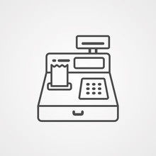 Cash Register Vector Icon Sign...