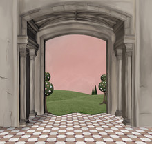 Surreal Background Of An Empty Room Overlooking A Grassy Hill – 3D Illustration