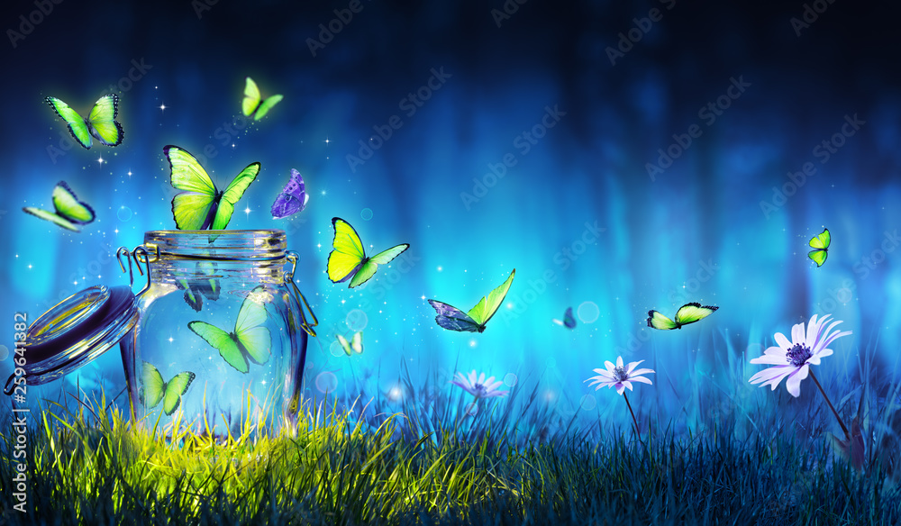 Fototapeta Freedom Concept - Magic Butterflies Flying Out Of The Jar On The Lawn