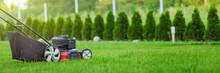 Lawn Mower Cutting Green Grass