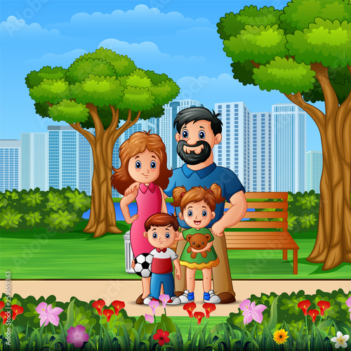 Canvas Prints Kids Funny cartoon family in the beautiful park