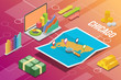 chicago city isometric financial economy condition concept for describe cities growth expand - vector