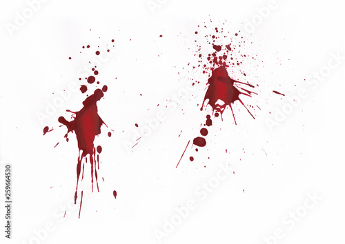 Pinturas sobre lienzo  Blood splatters on white background.
