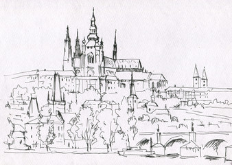Prague city sketch