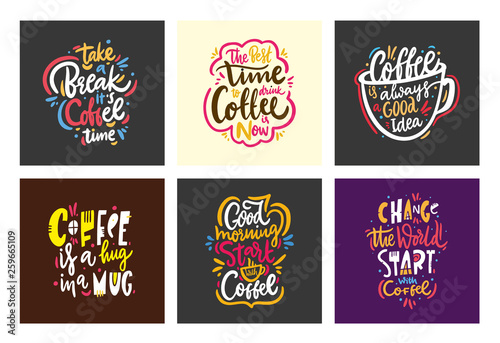 Foto Quotes coffee typography collection set