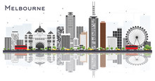 Melbourne Australia City Skyline With Gray Buildings And Reflections Isolated On White Background.