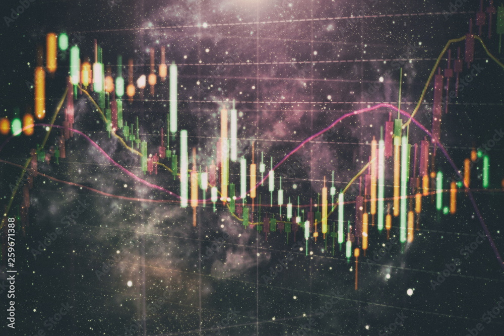 Fototapety, obrazy: Candle stick graph chart of stock market investment trading. The Forex graph chart on the digital screen.