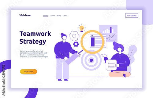 Photo  Vector teamwork and business strategy web page banner design template with big modern flat line people