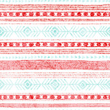 Seamless striped pattern. Ethnic and tribal motifs. Vintage print, grunge texture.Simple ornament. Handmade. White, pink and blue colors. Vector illustration. - 259673318