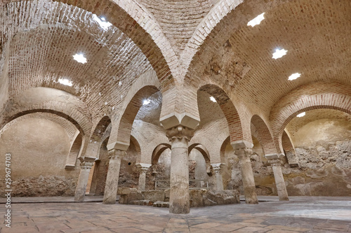 Arabian baths building interior in Jaen, Spain. XI architecture.