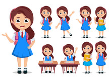 Student Girl Vector Character Set. School Kids Cartoon Characters Wearing Uniform And Backpack With Various Pose And Gestures While Doing Educational Activities. Vector Illustration.