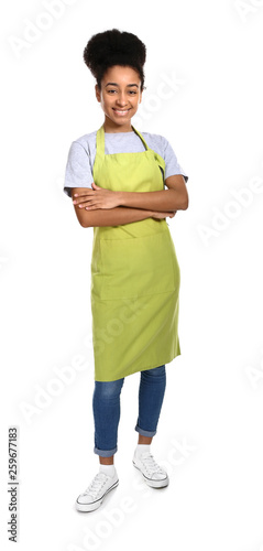 Photo African-American woman in apron on white background