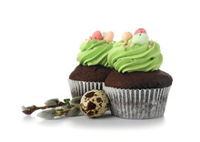 Sweet Easter Cupcakes On White Background