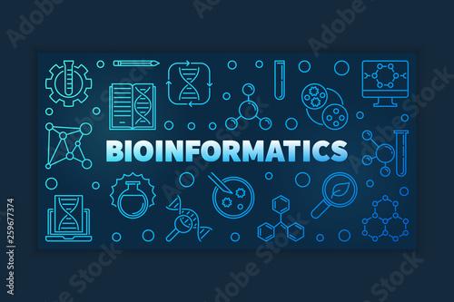 Bioinformatics concept blue outline banner on dark background Canvas Print