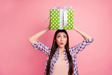 Portrait Of Nice Attractive Cute Charming Lovely Cheerful Funky Comic Straight-haired Lady Wearing Checked Shirt Holding In Hands On Head Looking Big Large Green Box Isolated On Pink Background