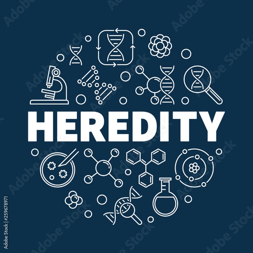 Fotografía  Vector Heredity round concept illustration in outline style