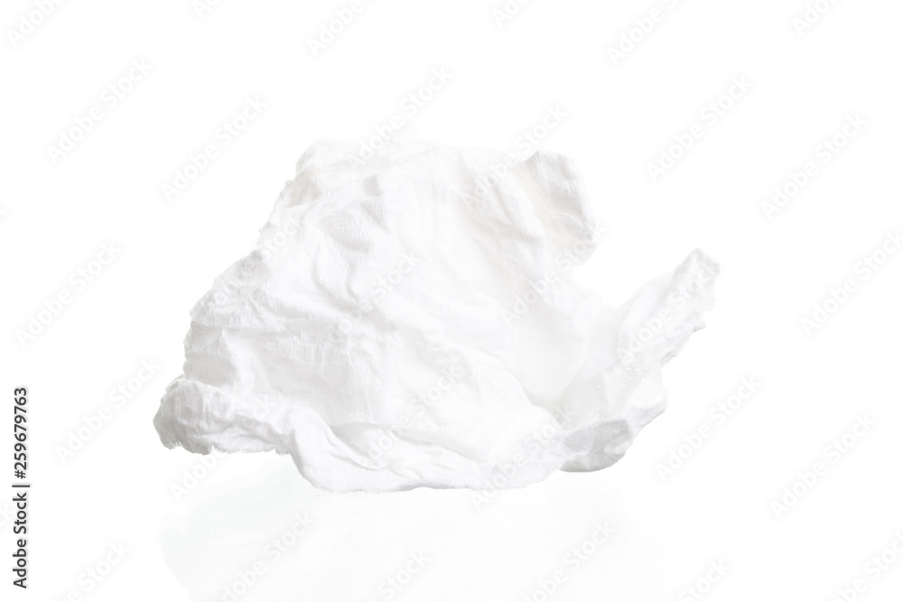 Fototapety, obrazy: Screwed paper tissue isolated on white background
