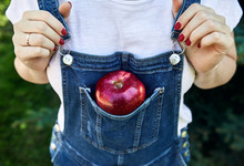 Red Apple In The Jeans Overalls
