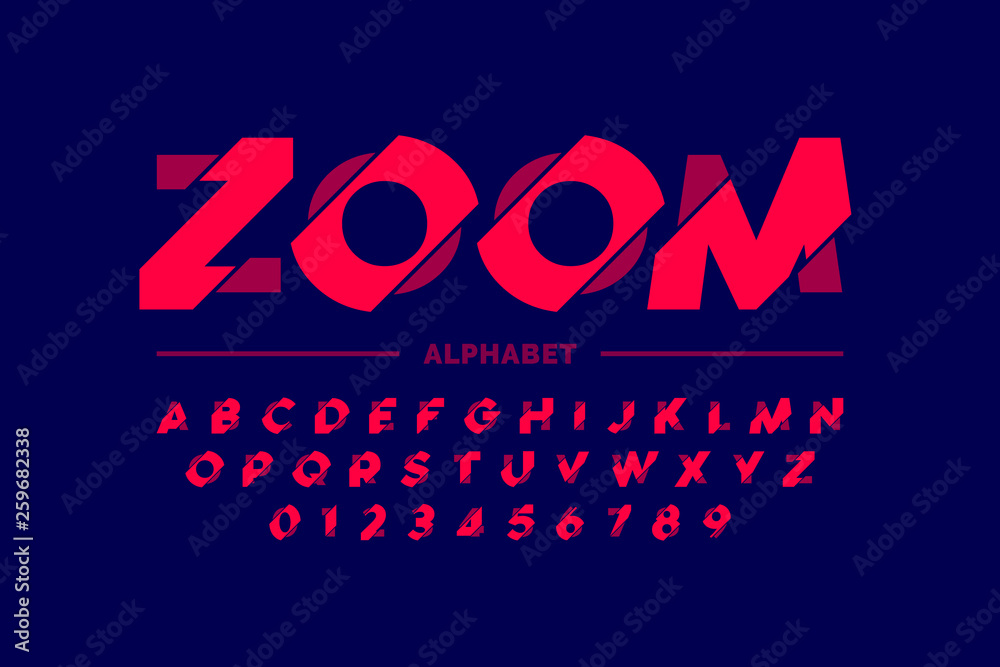 Fototapety, obrazy: Modern font design, zoom style alphabet letters and numbers
